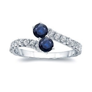Gold 1/4ct Blue Sapphire and 1/4ct TDW Diamond 4-prong, 2-stone Engagement Ring - Handcrafted By Name My Rings™