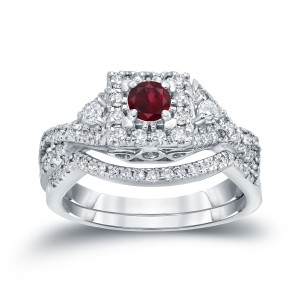 Gold 1/4ct Ruby and 1/2ct TDW Diamond Braided Bridal Ring Set - Handcrafted By Name My Rings™