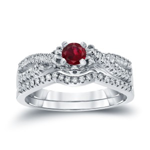 Gold 1/4ct Ruby and 1/4ct TDW Diamond Braided Bridal Ring Set - Handcrafted By Name My Rings™