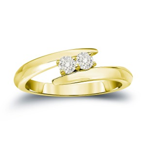 Gold 1/4ct TDW 2-Stone Round Cut Diamond Engagement Ring - Handcrafted By Name My Rings™