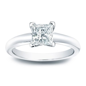 Gold 1/4ct TDW Princess-cut Diamond V-End Solitaire Engagement Ring - Handcrafted By Name My Rings™
