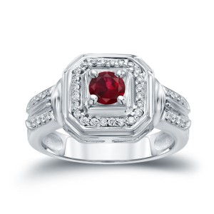 Gold 1/5ct Ruby and 1/5ct TDW Round Diamond Engagement Ring - Handcrafted By Name My Rings™
