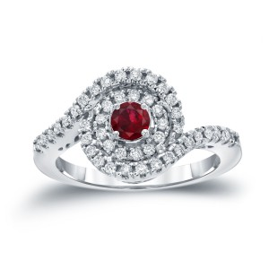 Gold 1/5ct Ruby and 3/5ct TDW Round Diamond Halo Engagement Ring - Handcrafted By Name My Rings™