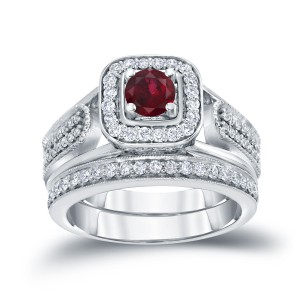 Gold 1/6ct Ruby and 1/2ct TDW Diamond Bridal Ring Set - Handcrafted By Name My Rings™