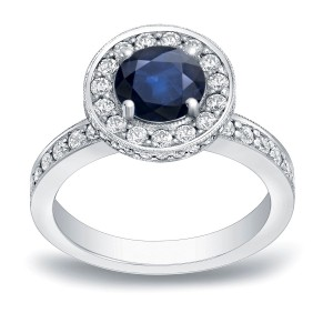 Gold 1ct  Blue Sapphire and 3/4ct TDW Round Diamond Halo Engagement Ring - Handcrafted By Name My Rings™