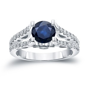 Gold 1ct Blue Sapphire and 1/2ct TDW Diamond Engagement Ring - Handcrafted By Name My Rings™