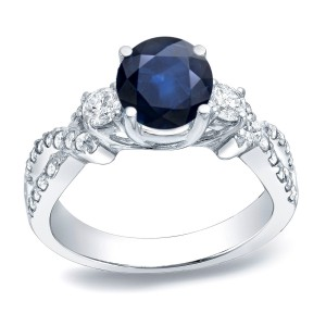 Gold 1ct Blue Sapphire and 1/2ct TDW Round Diamond Engagement Ring - Handcrafted By Name My Rings™