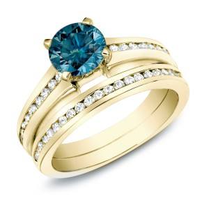 Gold 1ct TDW Blue Diamond Bridal Ring Set - Handcrafted By Name My Rings™