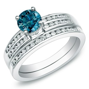 Gold 1ct TDW Blue Round Diamond Bridal Set - Handcrafted By Name My Rings™