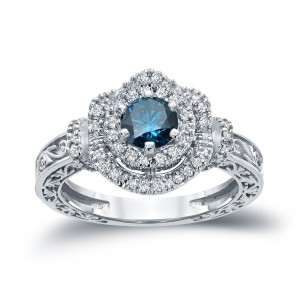 Gold 1ct TDW Blue Round Diamond Engagement Ring - Handcrafted By Name My Rings™