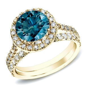 Gold 1ct TDW Blue Round Diamond Halo Bridal Ring Set - Handcrafted By Name My Rings™
