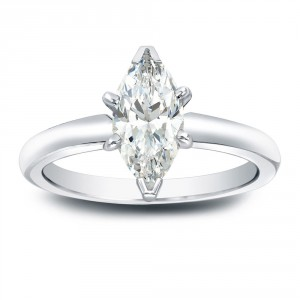 Gold 1ct TDW Marquise Diamond Solitaire Engagement Ring - Handcrafted By Name My Rings™