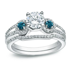 Gold 1ct TDW Round Blue Diamond Bridal Ring Set - Handcrafted By Name My Rings™