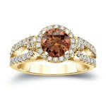 Gold 1ct TDW Round Cut Brown Diamond Halo Engagement Ring - Handcrafted By Name My Rings™