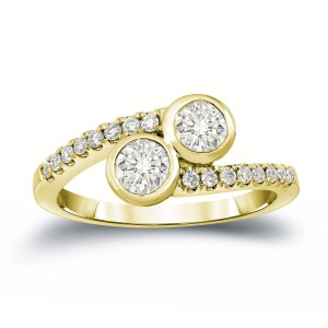 Gold 1ct TDW Round Cut Diamond 2-Stone Engagement Ring - Handcrafted By Name My Rings™