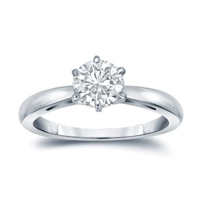 Gold 1ct TDW Round-Cut Diamond 6-Prong Solitaire Engagement Ring - Handcrafted By Name My Rings™