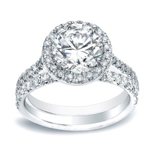 Gold 1ct TDW Round Diamond Halo Engagement Wedding Ring Set - Handcrafted By Name My Rings™