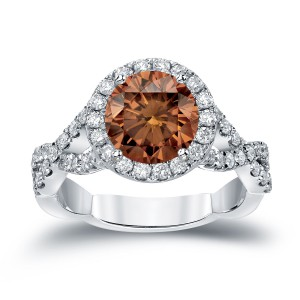 Gold 2 3/4ct TDW Round Cut Brown Diamond Halo Engagement Ring - Handcrafted By Name My Rings™