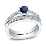 Gold 2/5ct Blue Sapphire and 3/5ct TDW Round Diamond Bridal Ring Set - Handcrafted By Name My Rings™