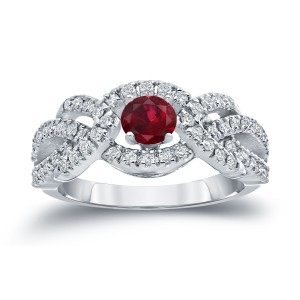 Gold 2/5ct Ruby and 3/5ct TDW Diamond Engagement Ring - Handcrafted By Name My Rings™