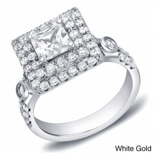 Gold 2ct TDW Certified Princess Cut Double Halo Diamond Ring - Handcrafted By Name My Rings™