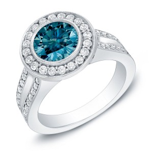 Gold 2ct TDW Contemporary Blue Diamond Ring - Handcrafted By Name My Rings™