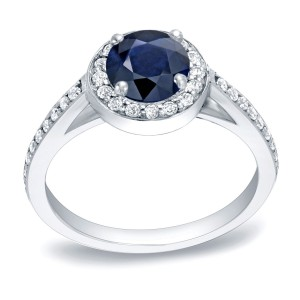 Gold 3/4ct Blue Sapphire and 1/3ct TDW Round Diamonds Engagement Ring - Handcrafted By Name My Rings™