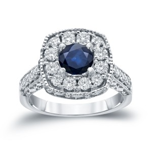 Gold 3/4ct Blue Sapphire and 3/4ct TDW Round Diamond Halo Engagement Ring - Handcrafted By Name My Rings™