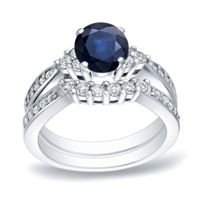 Gold 3/4ct Blue Sapphire and 3/5ct TDW Round Cut Diamond Bridal Ring Set - Handcrafted By Name My Rings™