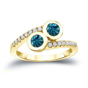 Gold 3/4ct TDW 2-Stone Round Cut Blue Diamond Engagement Ring - Handcrafted By Name My Rings™