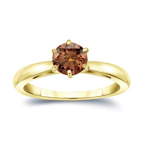 Gold 3/4ct TDW 6-Prong Round Cut Brown Diamond Solitaire Engagement Ring - Handcrafted By Name My Rings™