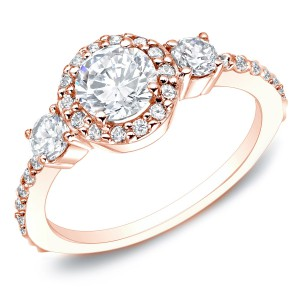 Gold 3/4ct TDW Round Diamond 3-stone Halo Engagement Ring - Handcrafted By Name My Rings™