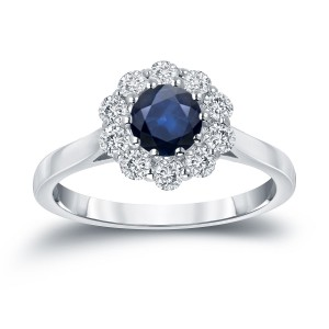Gold 3/5ct Blue Sapphire and 1/2ct TDW Diamond Halo Engagement Ring - Handcrafted By Name My Rings™