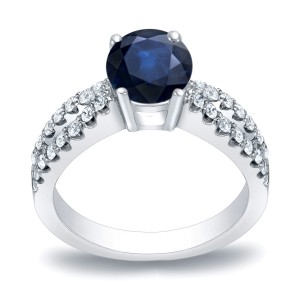 Gold 3/5ct Blue Sapphire and 2/5ct TDW Round Diamond Engagement Ring - Handcrafted By Name My Rings™