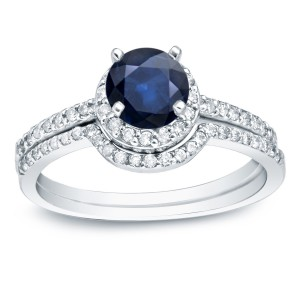 Gold 3/5ct Blue Sapphire and 2/5ct TDW Round Diamonds Bridal Ring Set - Handcrafted By Name My Rings™