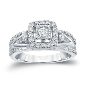 Gold 3/5ct TDW Round Diamond Engagement Ring - Handcrafted By Name My Rings™