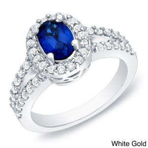 Gold 3/5ct TDW Sapphire and Diamond Engagement Ring - Handcrafted By Name My Rings™
