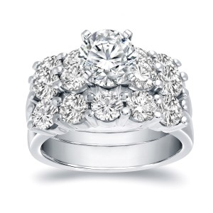Gold 4 1/2ct TDW Certified Round-Cut Diamond 3-Piece Bridal Ring Set - Handcrafted By Name My Rings™