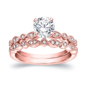 Gold 4/ 5ct TDW Diamond Solitaire Vintage Inspired Engagement Wedding Ring Set - Handcrafted By Name My Rings™