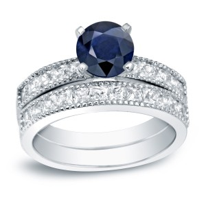 Gold 4/5ct Blue Sapphire and 1 1/5ct TDW Round Diamond Bridal Ring Set - Handcrafted By Name My Rings™