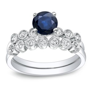Gold 4/5ct Blue Sapphire and 1/5ct TDW Round Cut Diamond Bridal Ring Set - Handcrafted By Name My Rings™