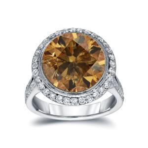 Gold 7 3/4ct TDW Round-cut Natural Fancy Cognac Diamond Engagement Ring - Handcrafted By Name My Rings™