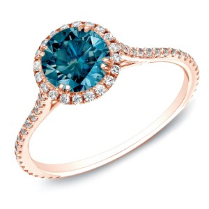 Rose Gold 1 1/2ct TDW Blue Round Diamond Halo Ring - Handcrafted By Name My Rings™