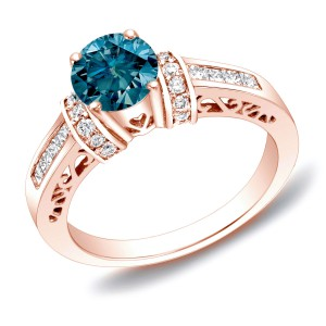 Rose Gold 1 1/6 ct TDW Blue Diamond Ring with Heart - Handcrafted By Name My Rings™