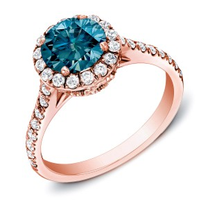 Rose Gold 1 3/4ct TDW Blue Halo Diamond Ring - Handcrafted By Name My Rings™