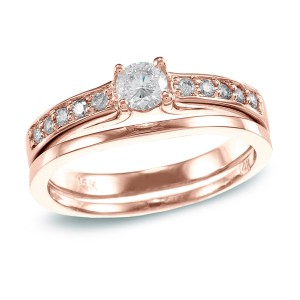 Rose Gold 1/2 ct TDW Round Diamond Bridal Set - Handcrafted By Name My Rings™