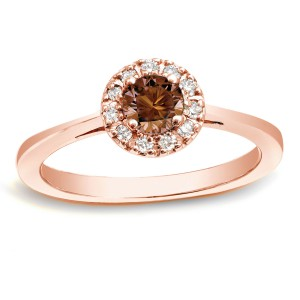 Rose Gold 1/2ct TDW Brown Diamond Halo Ring - Handcrafted By Name My Rings™