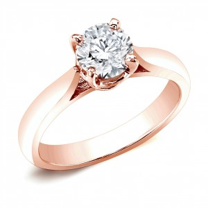 Rose Gold 1/2ct TDW Round Diamond Solitaire Engagement Ring - Handcrafted By Name My Rings™