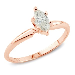 Rose Gold 1ct TDW Marquise Diamond Engagement Ring - Handcrafted By Name My Rings™
