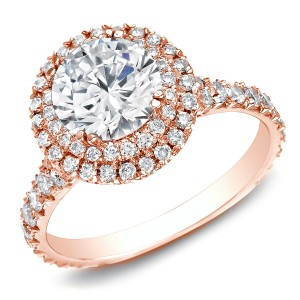 Rose Gold 2ct TDW Certified Halo Split-shank Round Diamond Engagament Ring - Handcrafted By Name My Rings™